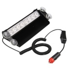 QooK JHCQ07 8W Cold White 8-LED Dash Strobe Flash Car Emergency Light