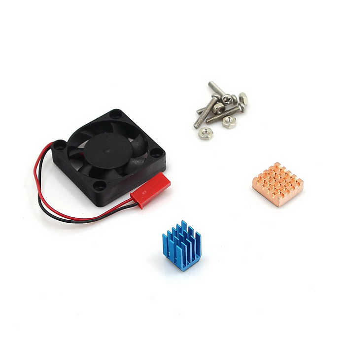 Copper Aluminium Heatsink Fan Cooling Kit for Raspberry Pi - Black