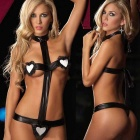 Europe Style Patent Leather Sexy Lingerie Suit - Black + White