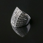 Fashion Rhinestones Decorated Jewelry Ring - Silver + Black