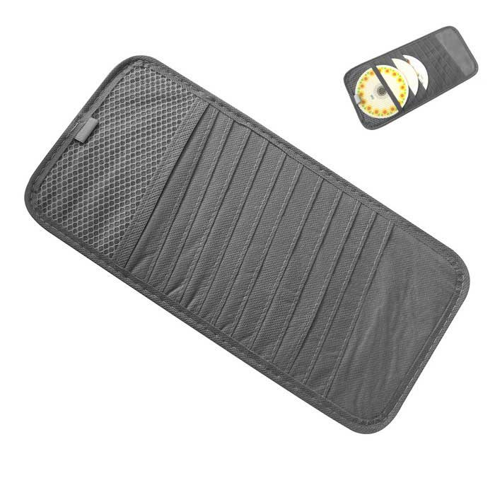 ZIQIAO CD DVD Car Sun Visor Card Case Wallet Storage Holder Bag - GrayOther Interior<br>Form  ColorGrey + White + Multi-ColoredModelN/AQuantity1 DX.PCM.Model.AttributeModel.UnitMaterialNon-woven fabricPacking List1 * Car CD holder<br>