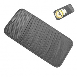 ZIQIAO CD DVD Car Sun Visor Card Case Wallet Storage Holder Bag - Gray