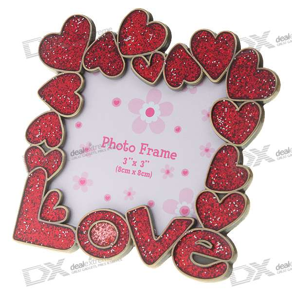 "Love Themed Small Metal Photo Frame - Red (3""*3"")"