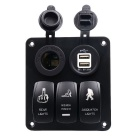 CS-448A1 3 Cigarette Lighters Dual USB Switch Panel - Black
