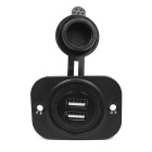 12V Waterproof Motorcycle Cigarette Lighter Socket / Dual USB Charger