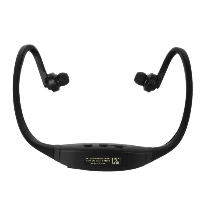 Bluetooth V4.0 Stereo Neckband Sports Earphones w/ TF Slot - Black