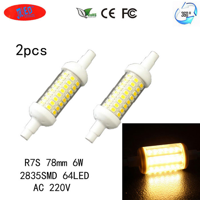 JRLED R7S 6W 360 Degree Beam Angle Warm White LED Light Bulb Lamps