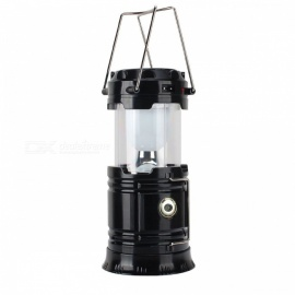 CL-2-BK 7-LED Camping Lamp with Flashlight Solar Recharger - Black