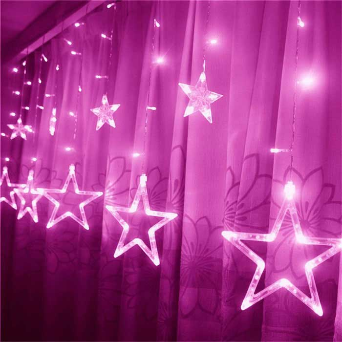 Jul Dekorative 138-LED Pink Star Lights 3m (W) X 1m (H) (AC 220V)