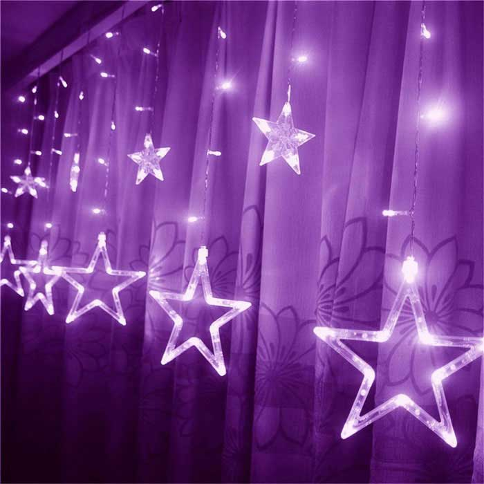 Christmas Decorative 138-LED Purple Star Lights 3m(W) * 1m(H)LED String<br>Form  ColorTranslucent White + SilverColor BINPurpleModelFLEDSL01-PUMaterialPlastic + LEDQuantity1 DX.PCM.Model.AttributeModel.UnitPower8WRated VoltageAC 220 DX.PCM.Model.AttributeModel.UnitChip BrandOthers,-Emitter TypeLEDTotal Emitters138Wavelength350-440nmActual Lumens120-180 DX.PCM.Model.AttributeModel.UnitPower AdapterEU PlugPacking List1 * LED Star Light String<br>