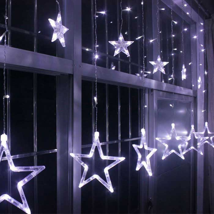 Christmas Decorative Cold White Star Light w/ 138 LEDs 3m(W) * 1m(H)LED String<br>Form  ColorTranslucent White + SilverColor BINCold WhiteModelFLEDSL01-WMaterialPlastic + LEDQuantity1 DX.PCM.Model.AttributeModel.UnitPower8WRated VoltageAC 220 DX.PCM.Model.AttributeModel.UnitChip BrandOthers,-Emitter TypeLEDTotal Emitters138Color Temperature6000-6500KWavelengthN/AActual Lumens120-180 DX.PCM.Model.AttributeModel.UnitPower AdapterEU PlugPacking List1 * LED Star Light String1 * Box<br>