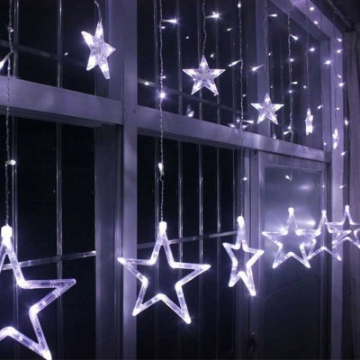 Christmas Decorative Cold White Star Light w/ 138 LEDs 3m(W) * 1m(H)