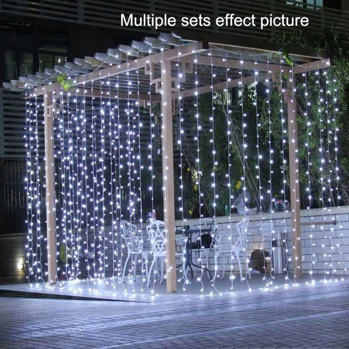 Decorative 9.8ft*9.8ft 300 LEDs Window Curtain Lights Cold White