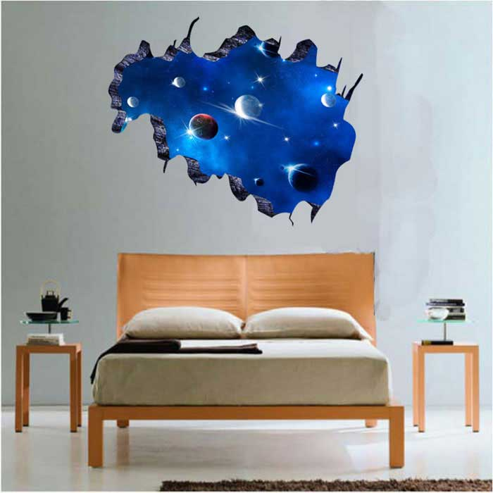 removable diy 3d galactic space decorative wall stickers. Black Bedroom Furniture Sets. Home Design Ideas