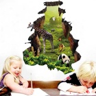 Removable Decorative Wall Stickers DIY 3D Giraffe - Green