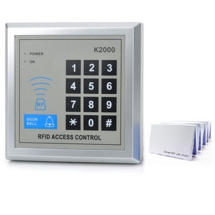 K2000 Password Access Control Card Reader - Silver Gray + White