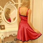 Woman's Fashionable Sexy Lace + Spandex Sleep Dress - Red
