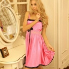 Woman's Fashionable Sexy Lingerie Suit Sleep Dress - Dark Pink