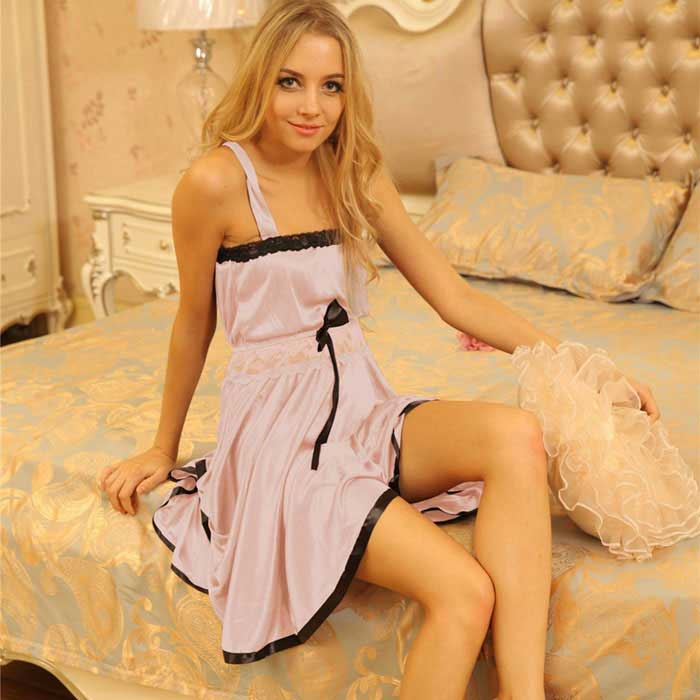 H312 Woman's Fashionable Sexy Lingerie Suit Sleep Dress - Apricot