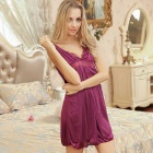 H514 Woman's Fashionable Sexy Lingerie Suit Sleep Dress - Purple