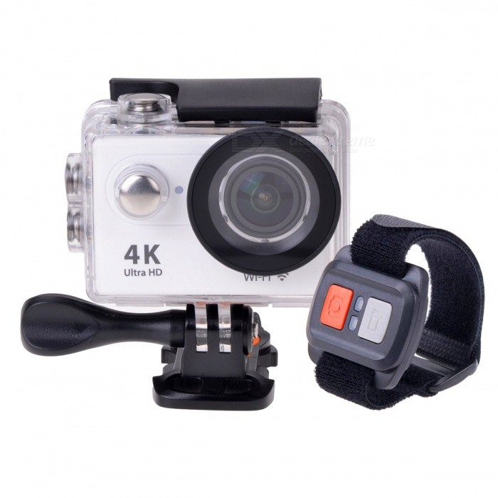 H9R Waterproof Wide Angle 4K Sports Camera w/ Remote Control - WhiteSport Cameras<br>Form Color White + BlackModelH9RShade Of ColorWhiteMaterialABSQuantity1 pieceImage SensorCMOSImage Sensor Size2/3 inchesAnti-ShakeYesFocal DistanceNo cmFocusing RangeNoOptical ZoomNoDigital ZoomOthersBuilt-in SpeedliteNoApertureF2.0Aperture Range12cm~InfiniteWide Angle170° 6G HD wide-angle fish-eye lensEffective Pixels12.0 MPImagesJPGStill Image Resolution12MP 4608*2592; 8MP 3760*2120; 5MP 2976*1672; 4MP 2648*1504VideoMOVVideo Resolution4k 25fps,2.7k 30fpsVideo Frame Rate25,30,60Audio SystemStereoCycle RecordYesISONoExposure Compensation-2;-1.7;-1.3;-1;-0.7;-0.3;0;+0.3;+0.7;+1;+1.3;+1.7;+2.0Scene ModeAutoWhite Balance ModeAutoSupports Card TypeTFSupports Max. Capacity32 GBBuilt-in Memory / RAMNoOutput InterfaceMicro USB,Micro HDMILCD ScreenYesScreen TypeTFTScreen Size2 inchesScreen Resolution320 * 240Battery Measured Capacity 1050 mAhNominal Capacity1050 mAhBattery TypeLi-ion batteryBattery included or notYesBattery Quantity1 pieceVoltage3.7 VBattery Charging Timeabout 3 hoursLow Battery AlertsYesWater ResistantWater Resistant 3 ATM or 30 m. Suitable for everyday use. Splash/rain resistant. Not suitable for showering, bathing, swimming, snorkelling, water related work and fishing.Supported LanguagesEnglish,Traditional Chinese,Russian,Portuguese,Spanish,Italian,Korean,French,German,Others,Dutch Polski Japanese ThaiCertificationCEPacking List1 * Wi-Fi sport camera1 * Controller1 * Wrist strap (about 28cm)1 * Waterproof housing1 * Protective back case1 * Handle bar/ pole mount2 * Helmet bases 1 * Mount A1 * Mount B1 * Mount C1 * Mount D1 * Mount E1 * Mount F1 * Mount G1 * Clip A1 * Clip B2 * Bandages (36cm)  2 * Velcro straps (20cm)2 * Adhesive tapes4 * Cable ties1 * Lens cloth1 * Charger (EU plug; Input: 100~240V; Output: 5V, 1A)1 * USB Cable (60cm)1 * Li-ion Battery (3.7V, 1050mAh)1 * English user manuals<br>