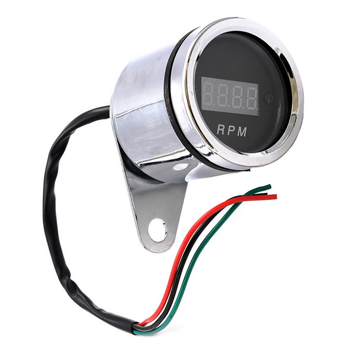 12V Motorcycle Conversion Scooter Tachometer LCD Meter Water MeterOthers<br>Form ColorSilverModelCS-375A1Quantity1 DX.PCM.Model.AttributeModel.UnitMaterialChrome platingTypeOthersWaterproof FunctionYesInstallation Method1.Red short-term positive locking; locking the short-term negative black green signal line contactsOther Features1. Product size: diameter 61mm, height 56mm, base 7mm; <br>2. For motorcycles; <br>3.0-9999 RPM measurement; <br>4. Shape: Round; <br>5. tachometer unit: RPM.Packing List1 * Instrument<br>