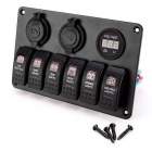 Waterproof 6-Switch Panel Red LED with USB Socket / Voltmeter - Black