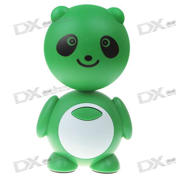 Cute Bear Rechargeable 2-Mode 10-LED White Light Energy Saving Desk Lamp - Green + White (110~250V)