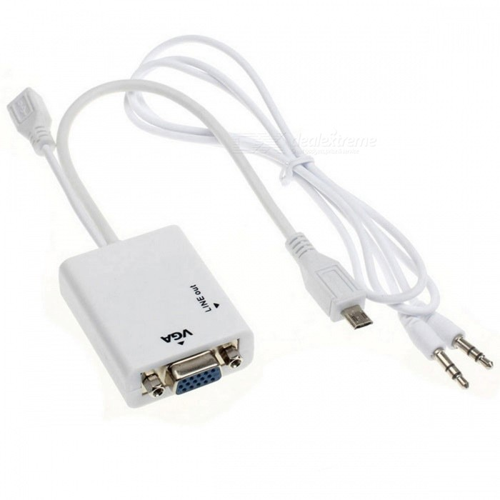 BSTUO Micro USB till VGA Audio MHL Adapter - Vit