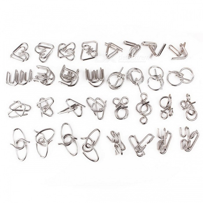 Oplossing Ring Buckle Static Metal Puzzel Speelgoed - Zilver (32PCS)