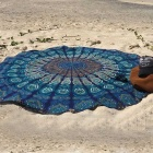 Digital Printing Beach Towel Sunscreen Shawl Wrap Skirt - Dark Blue