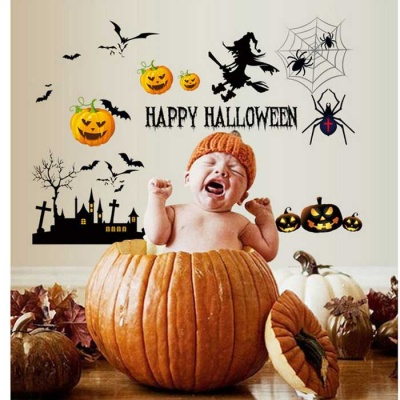 Removable DIY 3D Halloween Pumpkin Decorative Wall Sticker - Black
