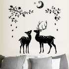 Removable DIY 3D Deer Decorative Wall Stickers - Black