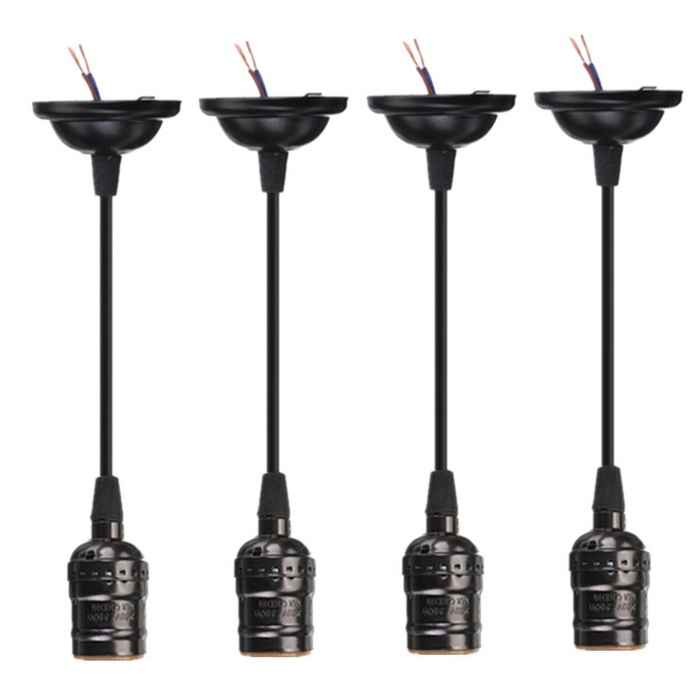E27 Socket Edison Pendant Lamp Holders w/o Switch - Black (4PCS)
