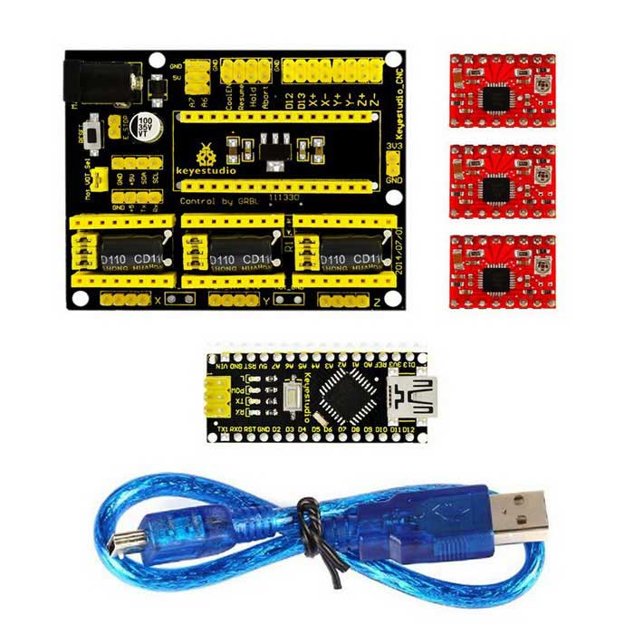 Keyestudio CNC Kit / V4.0 CNC Shield + nano 3.0 + 3pcs driver A4988