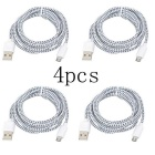 Micro USB Nylon Braided Android Charging Data Cables - White (4PCS)