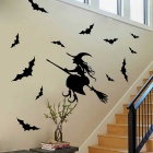 Removable DIY 3D Witch Style Decorative Wall Sticker - Black