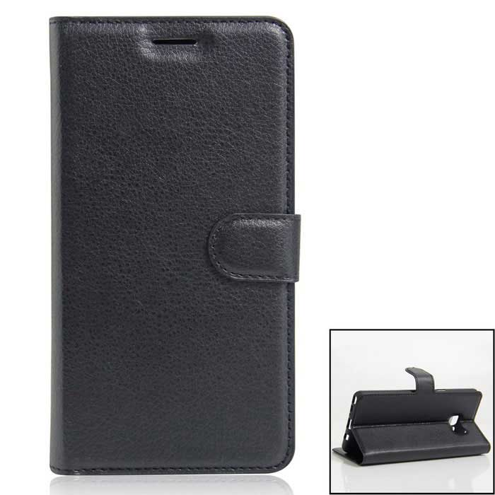 PU Leather Wallet Case w/ Card Slots Stand for Samsung Note 7 - Black