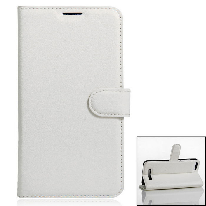 PU Leather Wallet Cases w/ Stand / Card Slots for Doogee Y200 - White
