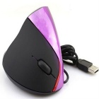 5D 2.4GHz USB Wired Vertical 1600dpi Optical Mouse - Black + roxo