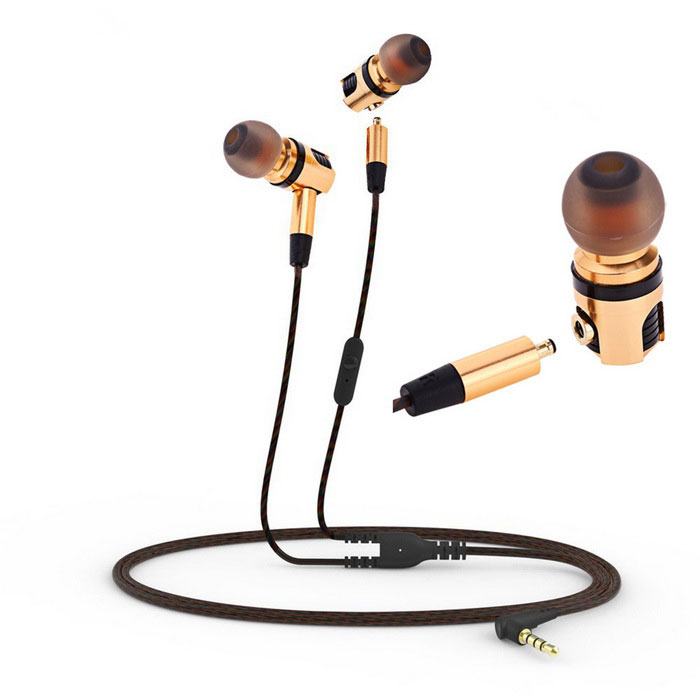 PLEXTONE Hi-Fi Wired Music Headset Detachable In-Ear w/ Mic - Gold