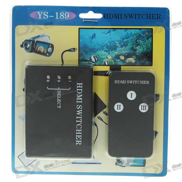 3-Port 1080P HDMI V1.3b Mini Switch Hub with Remote Control (3-IN 1-OUT)
