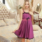 Fashionable Bowknot Lace Decorated + Spandex Sleep Slip Dress w/ G-String