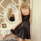 FanYang H312 Women's Sexy Lace + Spandex Sleep Dress - Black