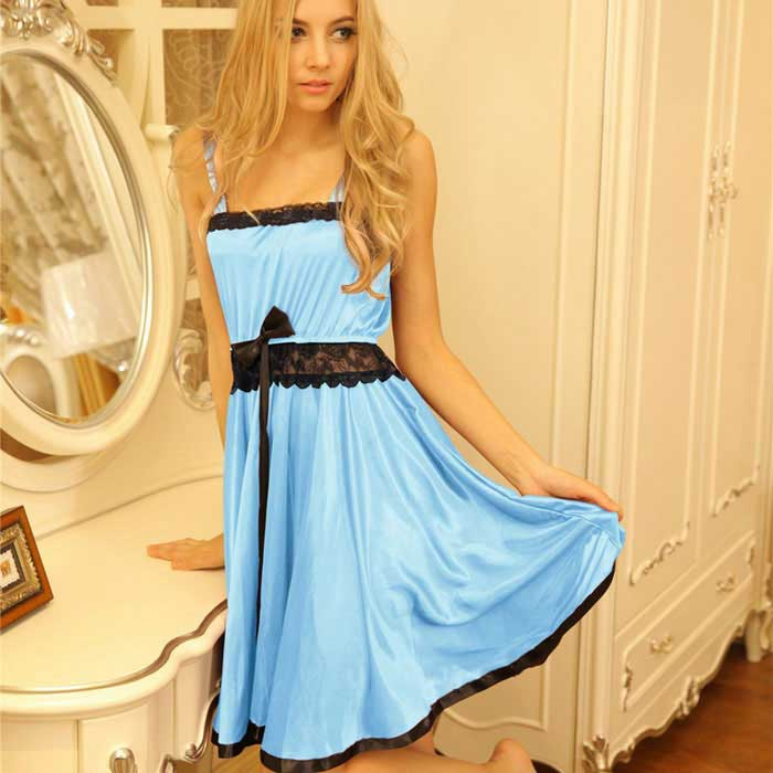 FanYang H312 Women's Sexy Lace + Spandex Sleep Dress - Blue
