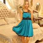 Модное Bowknot Lace Decorated + Spandex Sleep Slip Dress w / G-фибра