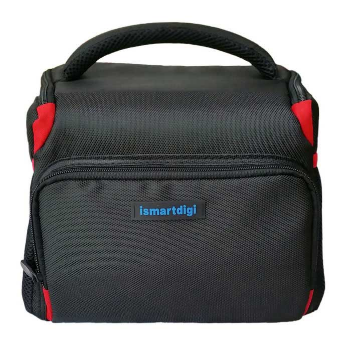 Nylon Oxford Camera Case Bag for All DSLR DV Nikon Canon - Black + Red