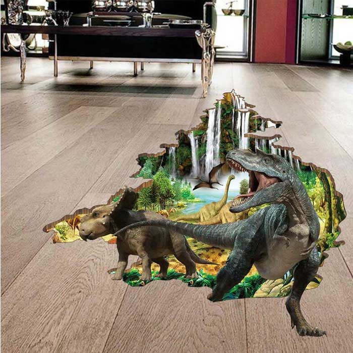 Removable Decorative Wall Stickers DIY 3D Dinosaur - Brown +Multicolor