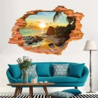 Removable Wall Stickers DIY 3D Mediterranean Landscape - Red Brown