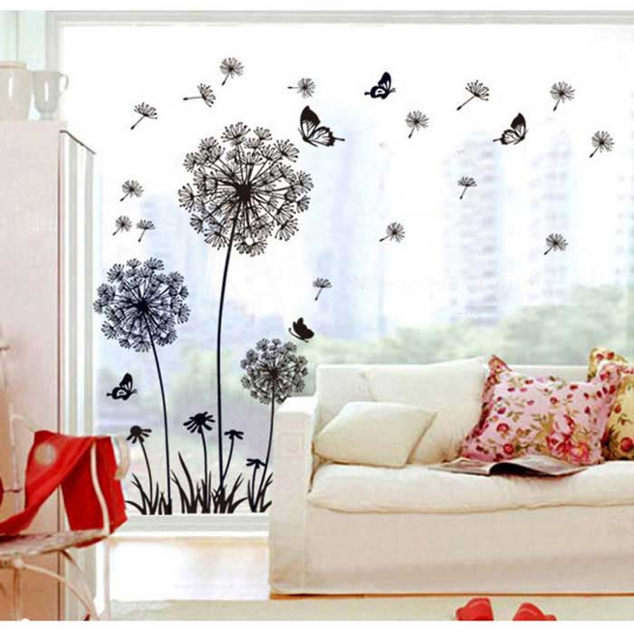 Removable Decorative Wall Stickers DIY 3D Dandelion - Black